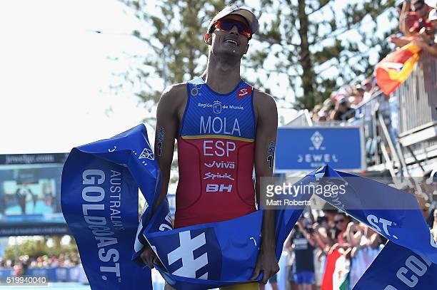 Mario Mola of Spain celebrates winning the ITU World Triathlon Series on April 9 2016 in Gold Coast Australia