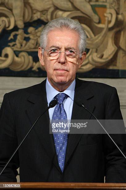 Mario Monti attends a press conference after a meeting with Italian President Giorgio Napolitano as he is announced as the new Italisn PM-designate,...