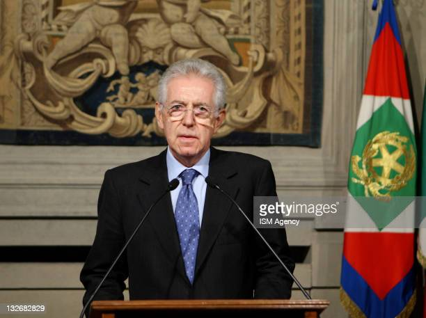 Mario Monti attends a press conference after a meeting with Italian President Giorgio Napolitano as he is announced as the new Italian PM-designate,...