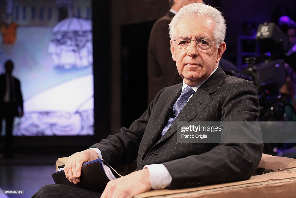 Mario Monti attends Ballaro' Italian TV Show on January 22, 2013 in Rome, Italy. Outgoing Italian prime minister Mario Monti will lead a centrist alliance during the Italian elections in February.