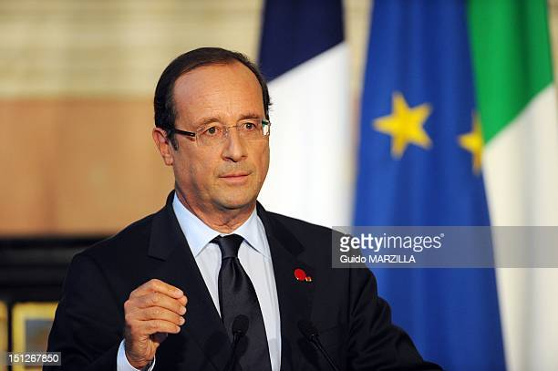 Mario Monti Italian Prime Minister received French President Francois Hollande at the Villa Madama in Rome, Italy on September 4, 2012. Pictured...