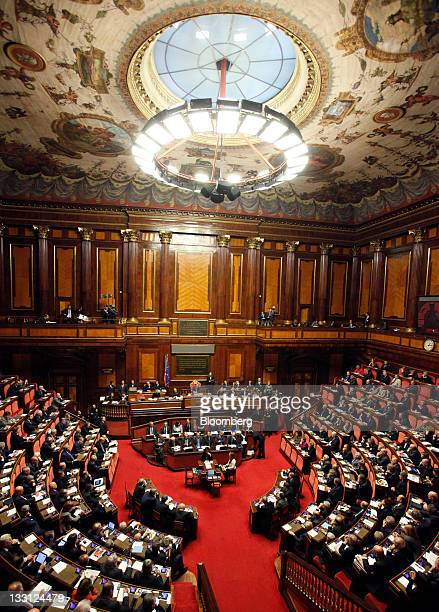 Mario Monti Italy's prime minister center speaks during a parliamentary session inside the Senate the upper house of parliament in Rome Italy on...