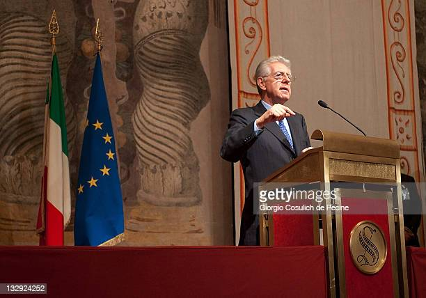 Mario Monti, the new appointed Italian Prime Minister, speaks during a press conference after the consultations to form a new government, at Palazzo...