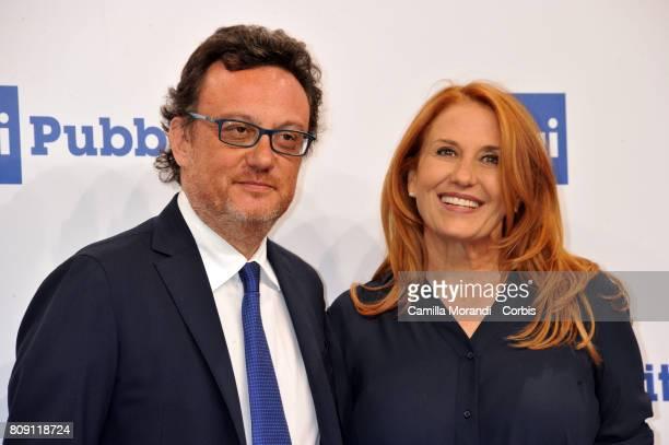 Mario Orfero and Monica Maggioni attend the Rai Show Schedule Presentation In Rome on July 4 2017 in Rome Italy