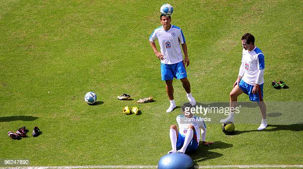 Mario Ortiz, Javier Orozco and Gerardo Torrado in action during a training session at the Azul Stadium on January 28, 2010 in Mexico City, Mexico.