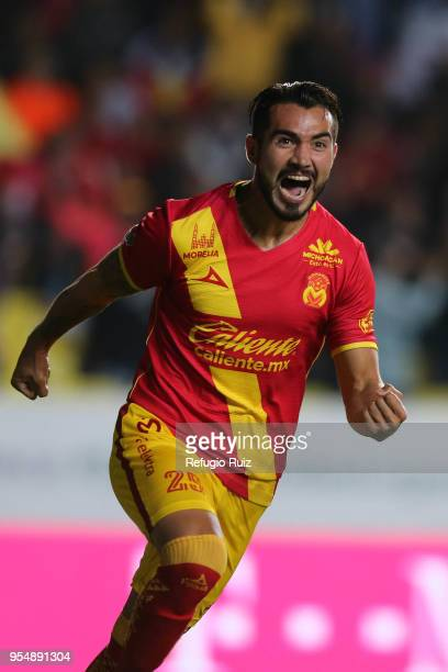 Mario Osuna of Morelia celebrates his goal during the quarter finals first leg match between Morelia and Toluca as part of the Torneo Clausura 2018...