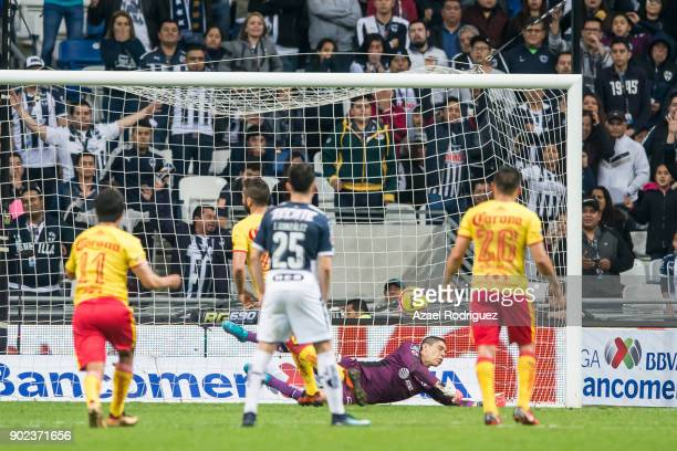 Mario Osuna of Morelia takes a penalty kick during the first round match between Monterrey and Morelia as part of the Torneo Clausura 2018 Liga MX at...