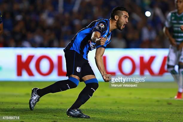 Mario Osuna of Queretaro celebrates after scorng the first goal of his team during a championship second leg match between Queretaro and Santos...