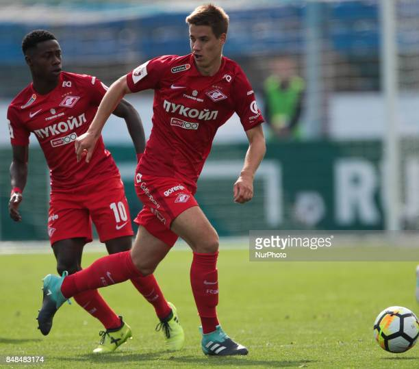 Mario Pasalic and Quincy Promes of FC Spartak Moscow vie for the ball during the Russian Football League match between FC Tosno and FC Spartak Moscow...