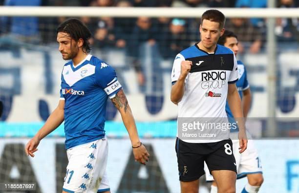 Mario Pasalic of Atalanta BC celebrates after scoring the opening goal during the Serie A match between Brescia Calcio and Atalanta BC at Stadio...
