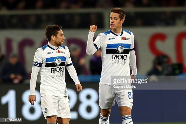 Mario Pasalic of Atalanta BC celebrates after scoring the second goal of his team during the Coppa Italia match between ACF Fiorentina and Atalanta...