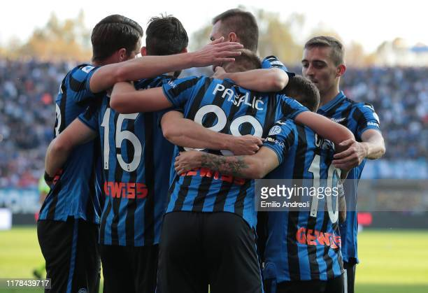 Mario Pasalic of Atalanta BC celebrates his goal with his teammates during the Serie A match between Atalanta BC and Udinese Calcio at Gewiss Stadium...