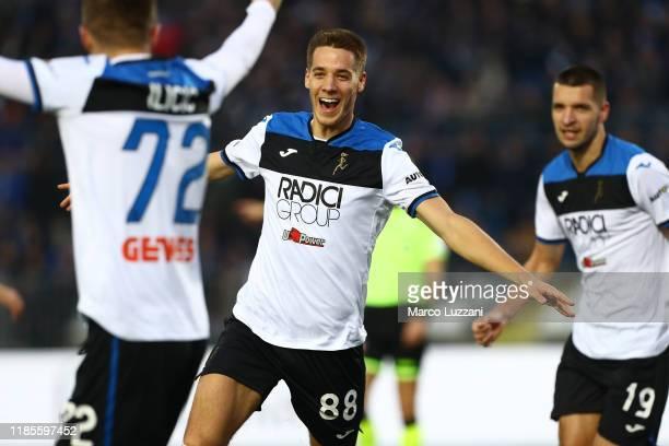 Mario Pasalic of Atalanta BC celebrates his second goal during the Serie A match between Brescia Calcio and Atalanta BC at Stadio Mario Rigamonti on...