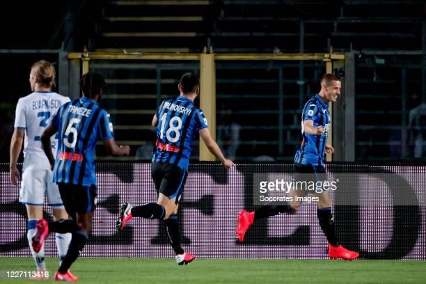 Mario Pasalic of Atalanta Bergamo celebrates 10 during the Italian Serie A match between Atalanta Bergamo v Brescia at the Stadio Atleti Azzurri d...