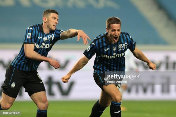 Mario Pasalic of Atalanta celebrates scoring the 1st goal during the Serie A match between Atalanta BC and Spezia Calcio at Gewiss Stadium on March...