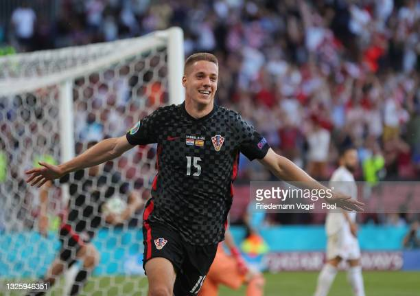 Mario Pasalic of Croatia celebrates after scoring their side's third goal during the UEFA Euro 2020 Championship Round of 16 match between Croatia...