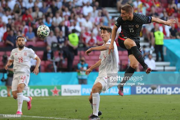 Mario Pasalic of Croatia scores their side's third goal during the UEFA Euro 2020 Championship Round of 16 match between Croatia and Spain at Parken...