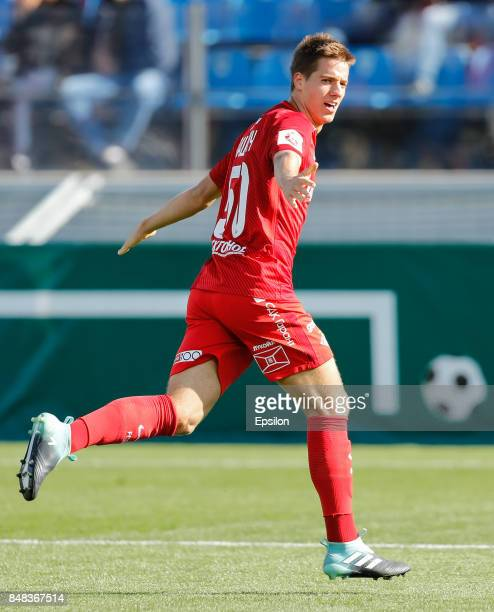 Mario Pasalic of FC Spartak Moscow celebrates his goal during the Russian Football League match between FC Tosno and FC Spartak Moscow at Petrovsky...