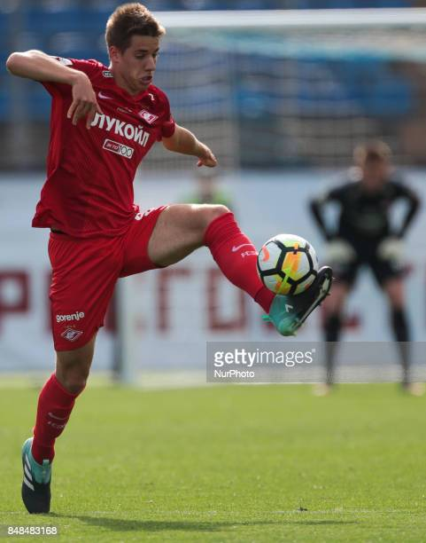 Mario Pasalic of FC Spartak Moscow vie for the ball during the Russian Football League match between FC Tosno and FC Spartak Moscow at Petrovsky...
