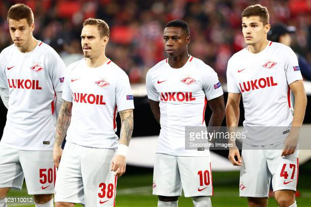 Mario Pasalic of Spartak Moscow Andrey Eshchenko of Spartak Moscow Quincy Promes of Spartak Moscow Roman Zobnin of Spartak Moscow during the UEFA...