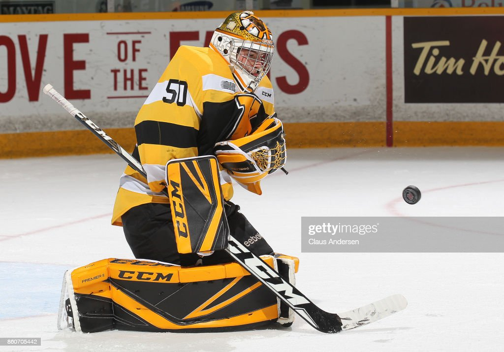 Mario Peccia #50 of the Kingston Frontenacs stops a shot against the Peterborough Petes in an OHL game at the Peterborough Memorial Centre on October 12, 2017 in Peterborough, Ontario.