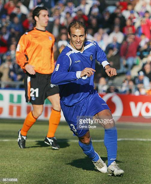 Mario Pernia of Getafe celebrates after scoring from a penalty during the Primera Liga match between Getafe and Alaves at the Coliseum Alfonso Perez...
