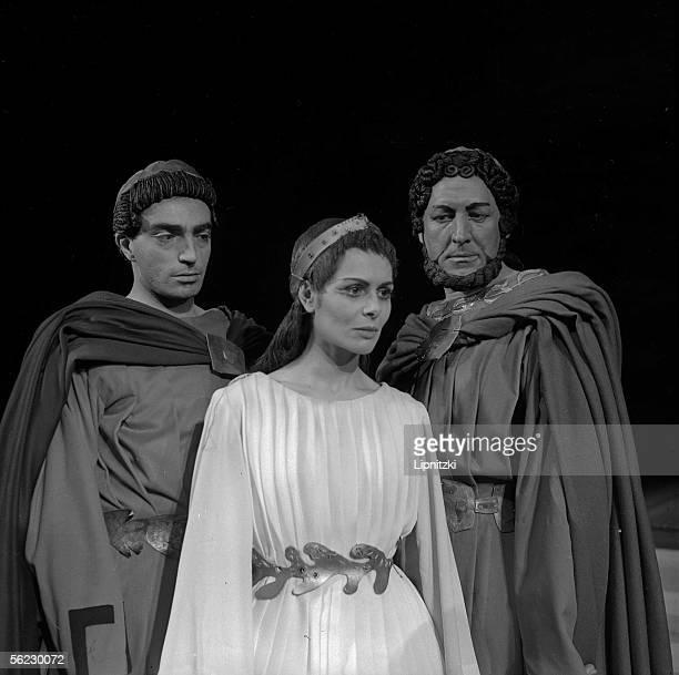 "Mario Pilar, Catherine Sellers and Georges Wilson in "" Antigone "" of Sophocles. Paris, T.N.P., 1960. LIP-160-006-026."