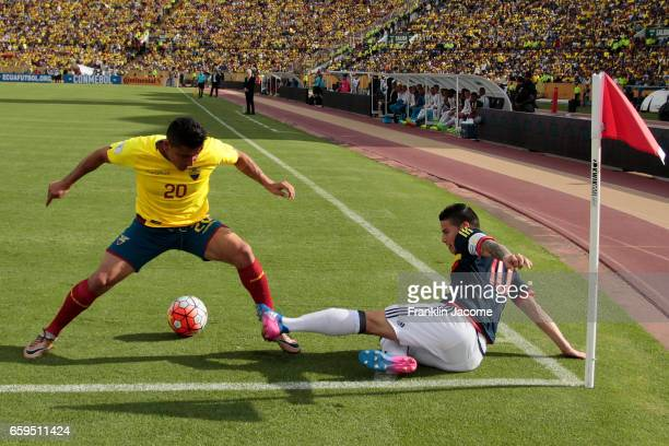 Mario Pineida of Ecuador and James Rodríguez of Colombia fight the ball during a match between Ecuador and Colombia as part of FIFA 2018 World Cup...