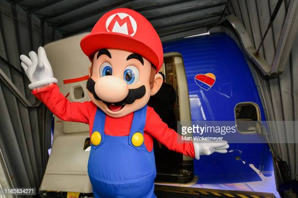 Mario poses for a photo for the Nintendo of America and Southwest Airlines Partnership at San Diego International Airport on July 17, 2019 in San...