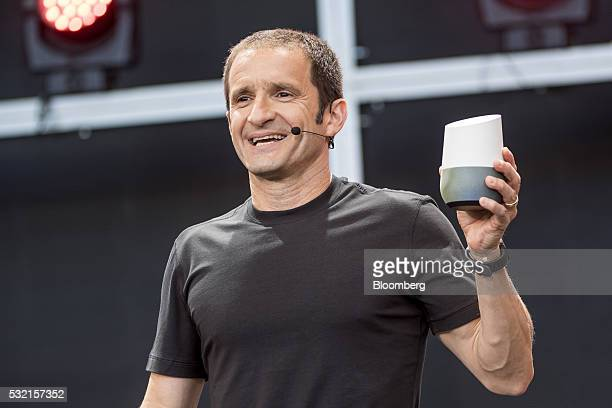 Mario Queiroz vice president of product management for Google Inc holds a Google Home device while speaking during the Google I/O Annual Developers...