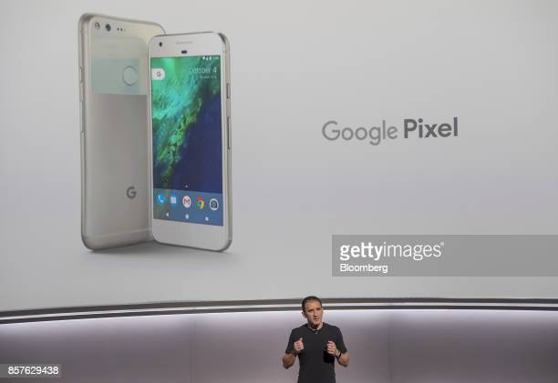 Mario Queiroz vice president of product management for Google Inc speaks about the Google Pixel smartphone during a product launch event in San...
