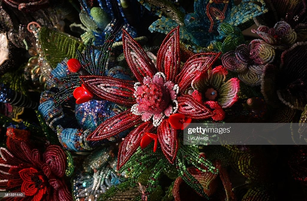 Mario Rivoli's home and his collections. Exotic hand-beaded flowers that he created. (The Denver Post/Lyn Alweis) : News Photo