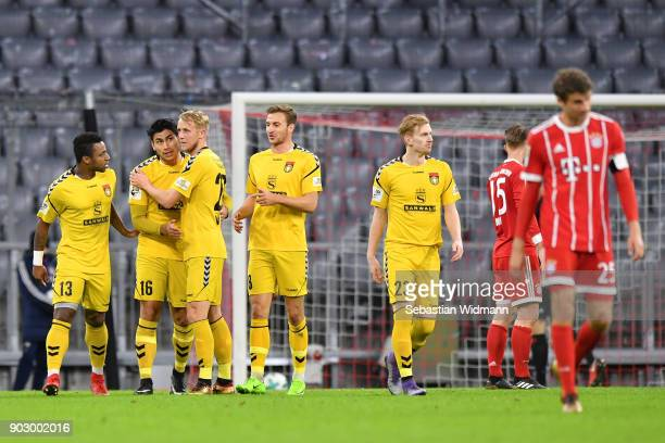 Mario Rodriguez of Sonnenhof Grossaspach celebrates scoring his teams third goal during the friendly match between Bayern Muenchen and SG Sonnenhof...