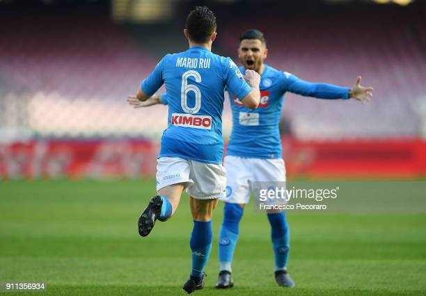 Mario Rui and Lorenzo Insigne of SSC Napoli celebrate the 11 goal scored by Ibrahima Mbaye during the serie A match between SSC Napoli and Bologna FC...