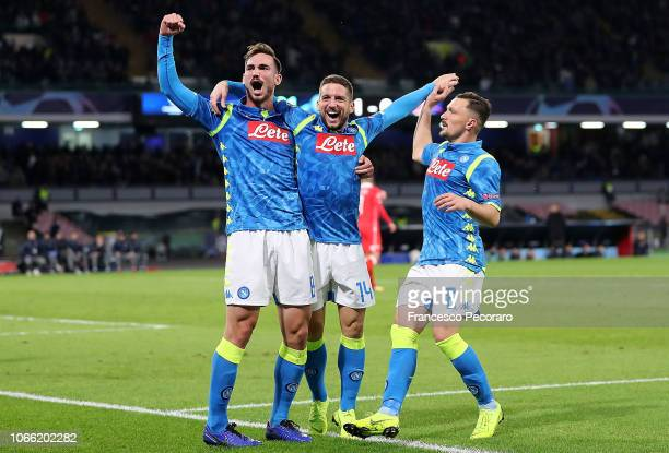Mario Rui Fabian Ruiz and Dries Mertens of SSC Napoli celebrate the 20 goal scored by Dries Mertens during the Group C match of the UEFA Champions...