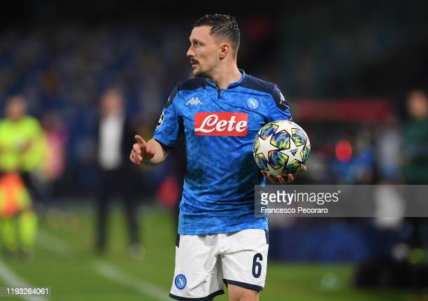 Mario Rui of SSC Napoli during the UEFA Champions League group E match between SSC Napoli and KRC Genk at Stadio San Paolo on December 10 2019 in...