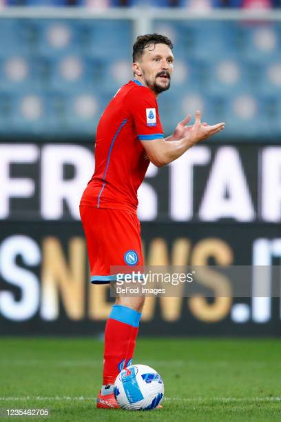 Mario Rui of SSC Napoli gestures during the Serie A match between UC Sampdoria and SSC Napoli at Stadio Luigi Ferraris on September 23, 2021 in...