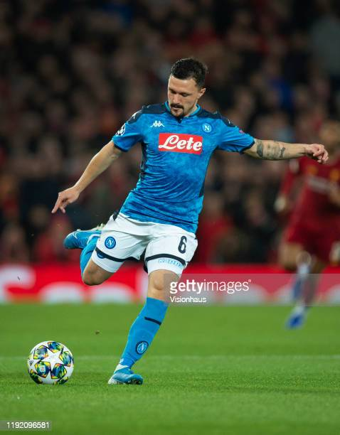Mario Rui of SSC Napoli in action during the UEFA Champions League group E match between Liverpool FC and SSC Napoli at Anfield on November 27 2019...