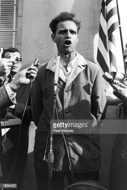 Mario Savio, leader of the Students' Free Speech Movement of U.C.Berkeley, speaks to several thousand students before leading them in an invasion of...