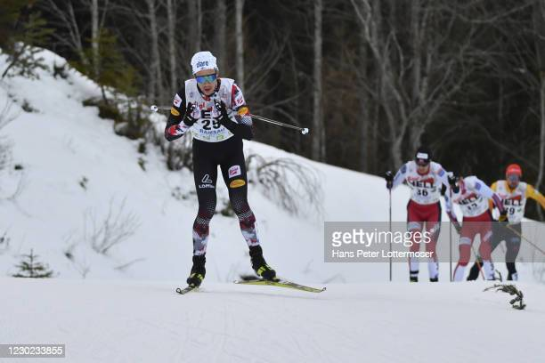 Mario Seidl of Austria competes during the Men-s Gundersen Normal Hill HS98/10.0 Km at the FIS Nordic Combined World Cup at WM Stadion Ramsau on...
