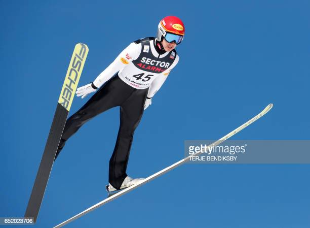 Mario Seidl of Austria jumps during the Nordic Combined Individual Gundersen LH / 10km event of the FIS Nordic Combined World Cup at the Holmenkollen...