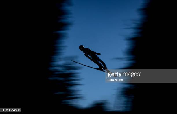 Mario Seidl of Austria jumps during the ski jumping training for the Nordic Combined ahead of the FIS Nordic World Ski Championships the on February...