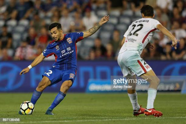 Mario Shabow of the Jets in action during the round 12 ALeague match between the Newcastle Jets and the Western Sydney Wanderers at McDonald Jones...