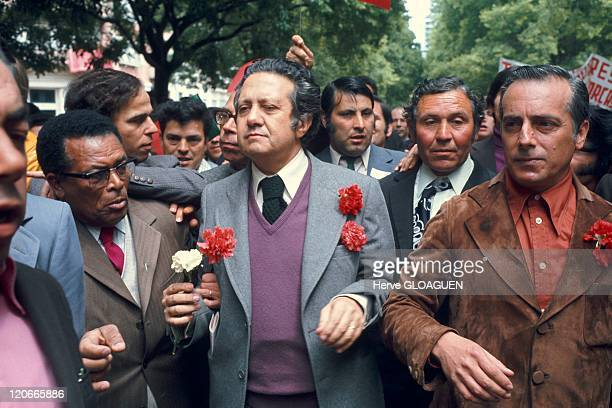 Mario Soares during the carnation revolution in Lisbon Portugal in May 1974 Michel Soares socialist leader The procession goes at the stage of the...