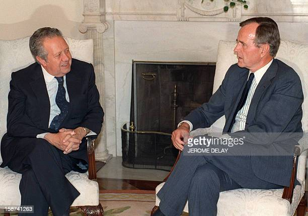Mario Soares President of Portugal meets George Bush his American counterpart on June 26 at the White House Oval Office in Washington DC