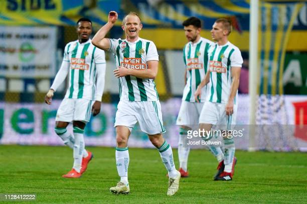 Mario Sonnleitner of Rapid celebrates after scoring a goal during the tipico Bundesliga match between SKN St Poelten and Rapid Wien at NV Arena on...