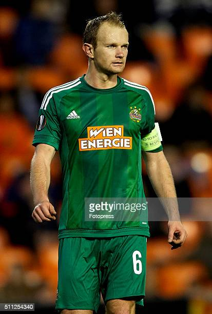 Mario Sonnleitner of Rapid Vienna looks on during the UEFA Europa League round of 32 first leg match between Valencia CF and Rapid Vienna at Estadi...