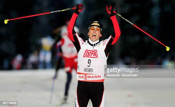 Mario Stecher of Austria celebrates winning the FIS Nordic Combined World Cup on November 27 2005 in Kuusamo Finland