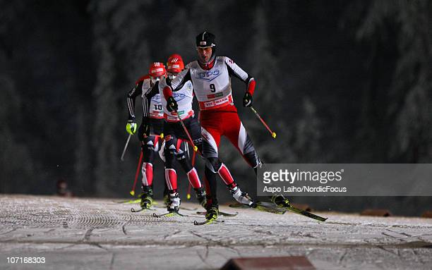 Mario Stecher of Austria competes in the Gundersen Ski Jumping HS 142/10km Cross Country event during day two of the FIS Nordic Combined World Cup on...