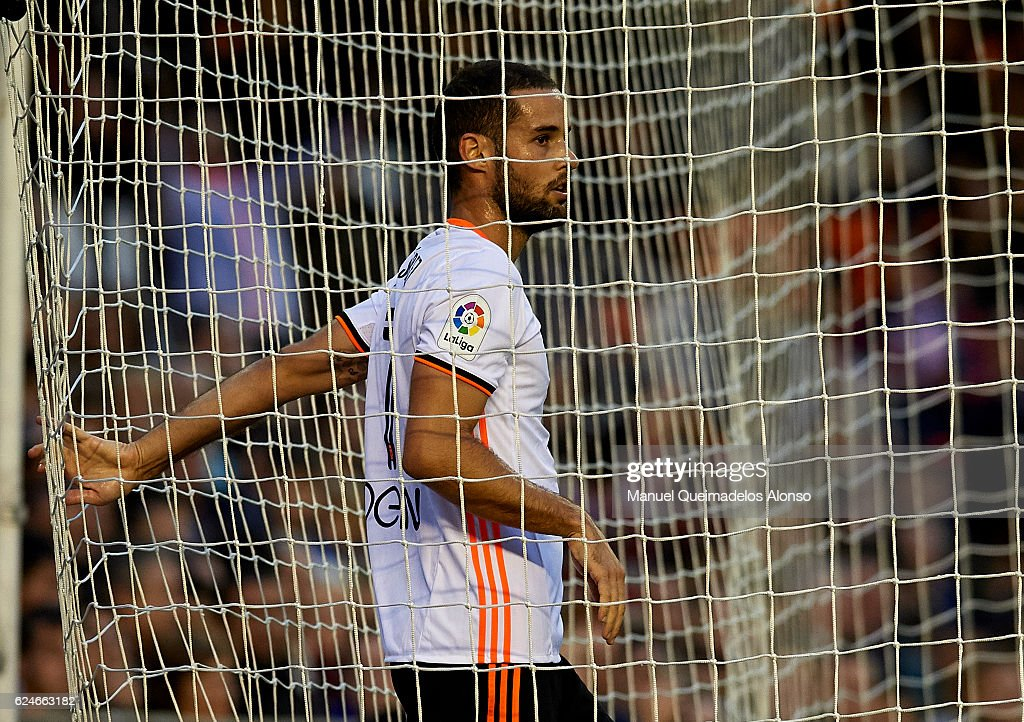 Mario Suarez of Valencia looks on during the La Liga match between Valencia CF and Granada CF at Mestalla Stadium on November 20, 2016 in Valencia, Spain.